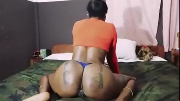 African girl with fat ass masturbates and fuck big dick