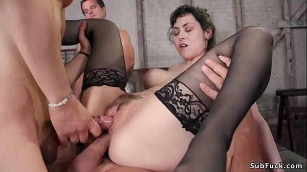 Busty brunette in stockings dp fucked