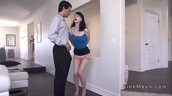 Dude strapped tall brunette and fucks her