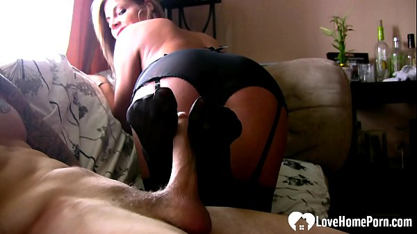 Amazing stepsister gives the best footjob in stockings