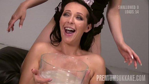 Premium Bukkake - Carolina Vogue swallows 66 huge mouthful cum loads