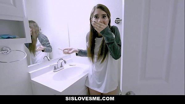 SisLovesMe - Hot Stepsis Fucks And Accidentally Bites Stepbros Cock Thumb
