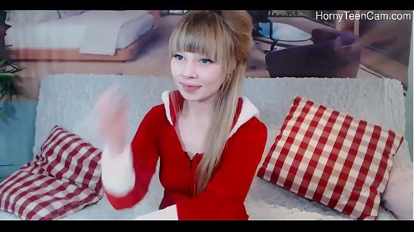 Cute russian teen playing with dildo on livestream - HornyTeenCam.com