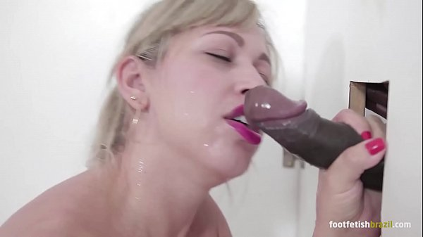Mirella Mansur at gloryhole playing with a big black dick and doing footjob, sucking all and taking a huge cumshot in her mouth Thumb