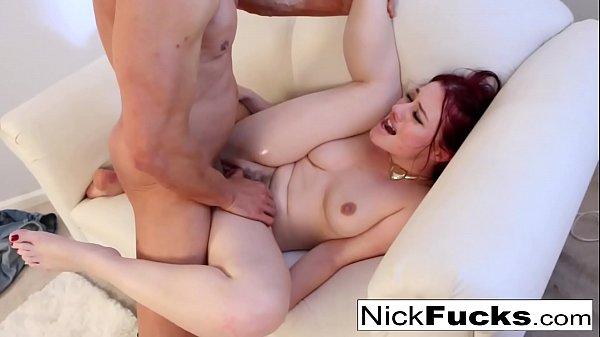 Pretty redhead Jessica squirts all over Nick's cock