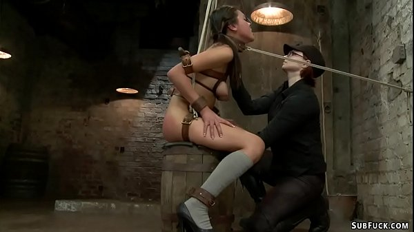 Bound lesbian in pile driver anal toyed