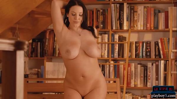Big natural boobs pornstar MILF Angela White solo striptease and flashing