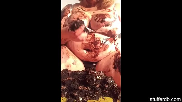 Demolishing chocolate cake