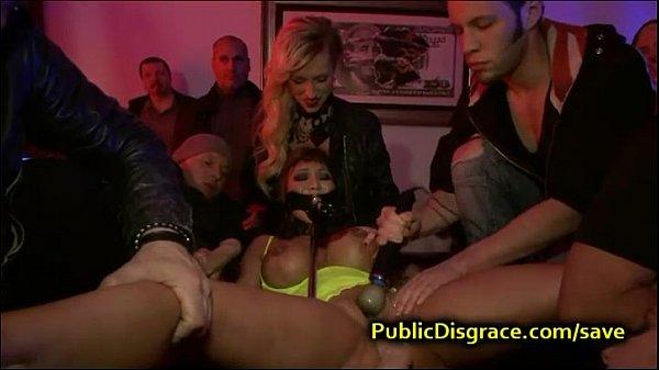 Huge tittied babe fucked in bar