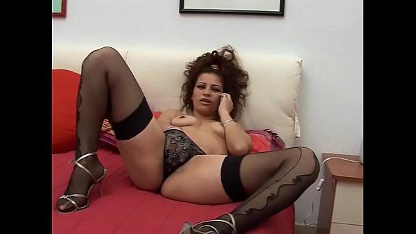 Bored stockings curly masturbates and fuck