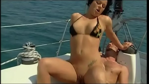 Nice brunette in bathing suit fucked in a yacht