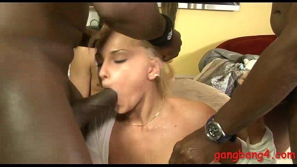 Naughty blonde slut double fucked by big black shafts Thumb