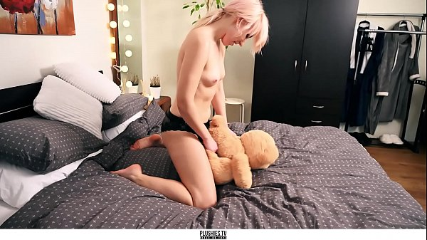 Adora and teddy bear, beautiful strapon sex with studded animal toys