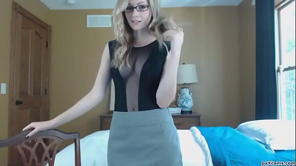 Classy young blonde with glasses sucks a dildo on cam like a slut Thumb