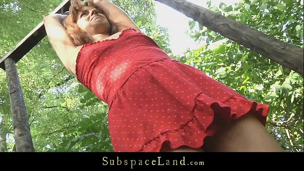Young teen slave driven in the forest for bondage and fuck Thumb