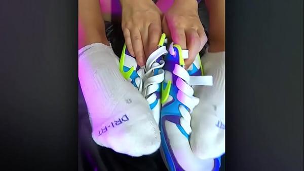 Nike Air foot fetish by hot skinny teens girl