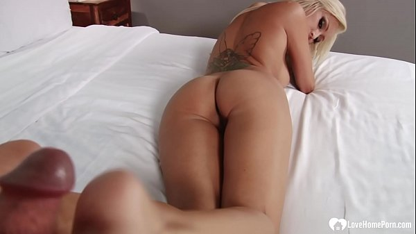 Blonde stepmom lets him cum on her feet