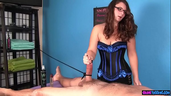 Busty masseuse stroking cock during CFNM Thumb