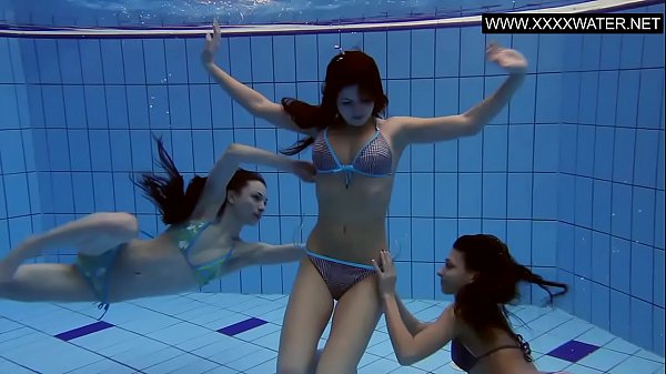 Three hot bitches naked in the pool