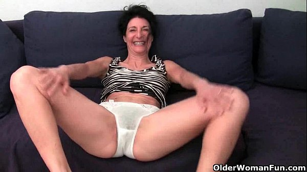 Grandma with hairy pussy gets fingered Thumb