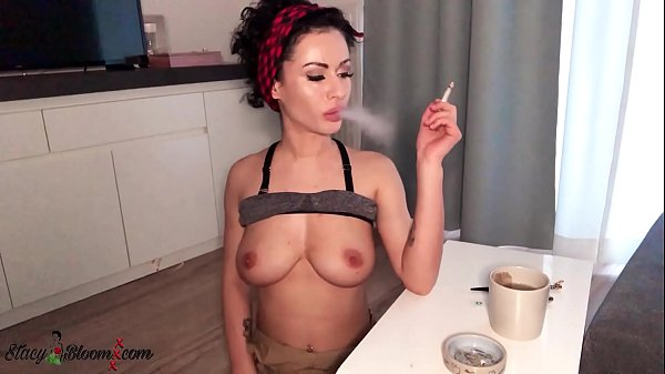 Stacy Bloom Smokes and Hard Pussy Fuck Dildo and Vibrator - Orgasm Thumb