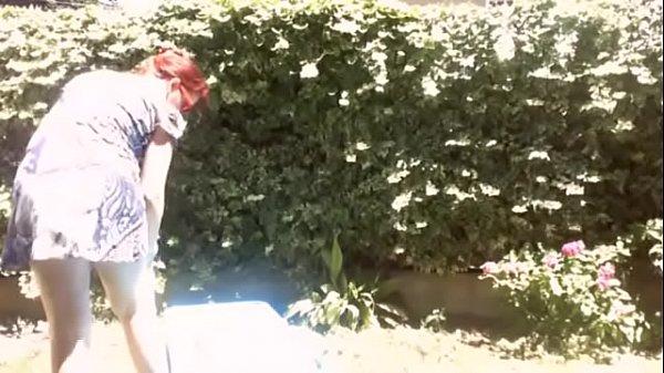Your mother sluts in the garden sunbathing with her big diaper full of piss