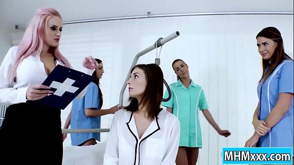 Jenifer Jane anal strapon by four nurses Thumb