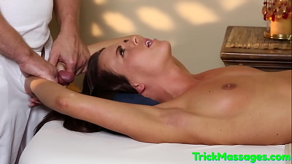Spoon fucked babe tugging masseurs dick