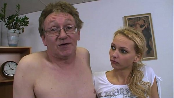 Cute blondie fucked on the office desk by mature man! Thumb