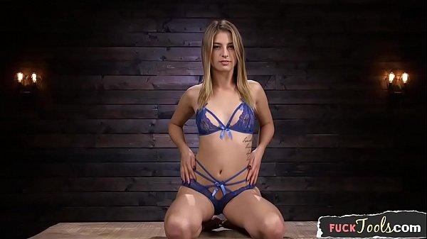BDSM machine babe gets throatfucked thumbnail