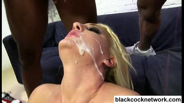 Interracial bukkake blonde with 5 black men