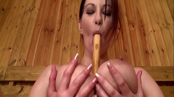Steamy Sauna Sexy Solo Wooden Spoon Wank by Busty Babe Thumb