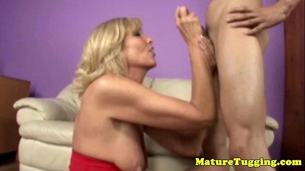Blondge cougar mom wanking his cock Thumb