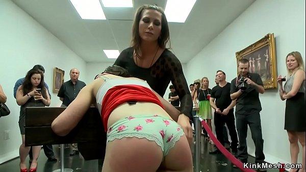 Slut anal banged in public gallery