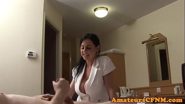 Bigtitted cfnm babe doggystyled in stockings Thumb