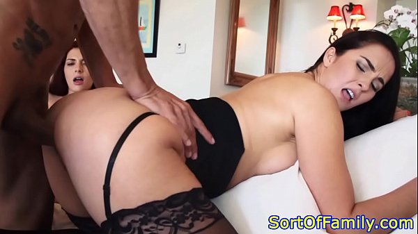 Taboo threeway with a stepmom in stockings