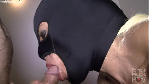 Masked Female Bodybuilder Sucks Cock Takes a Load Thumb