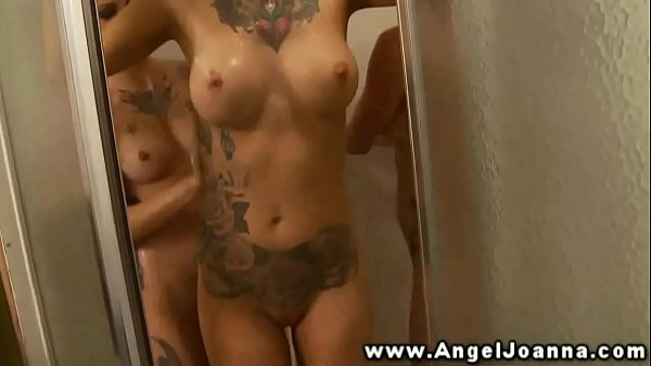 Angel Joanna has all lesbians join in her sexy shower