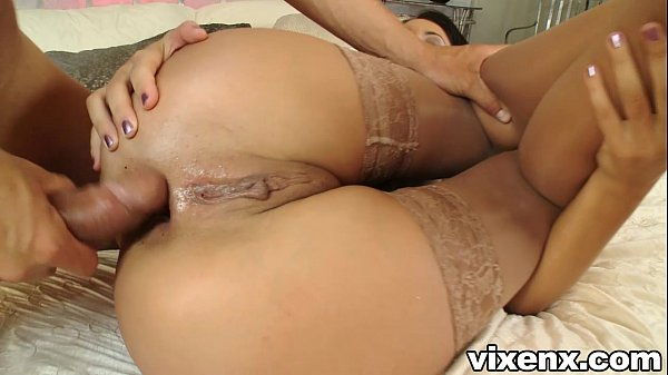 Babe in stockings fucking and anal sex