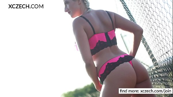 Beautiful blonde making striptease and showing pussy - XCZECH.com