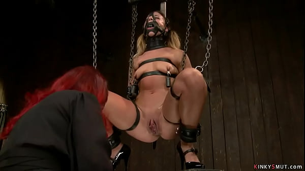Gagged and strapped lesbian whipped Thumb