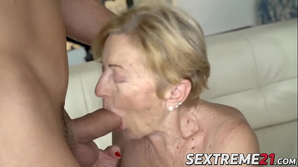 Naughty grandma having a taste of hard cock and hot cum