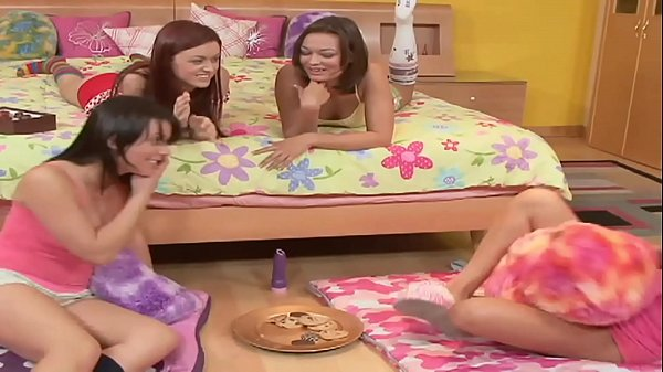 Girls Pyjama Night sleepover starts innocently but turns out Lesbian Orgy