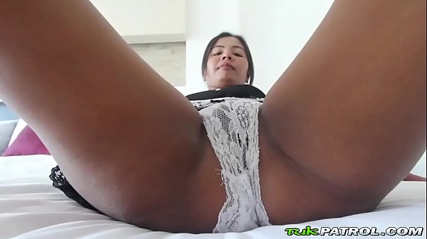 Petite asian brunette likes to feel a loaded cum gun blasting her delicious ass