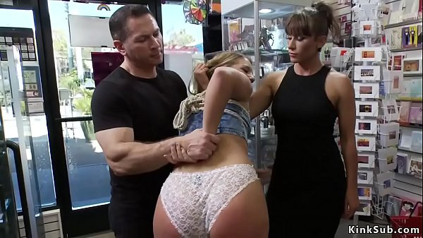 Blonde group tormented in public shop