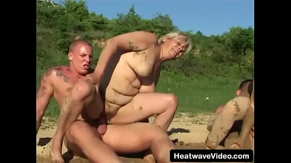 Grandma fucked by different young dudes in mud