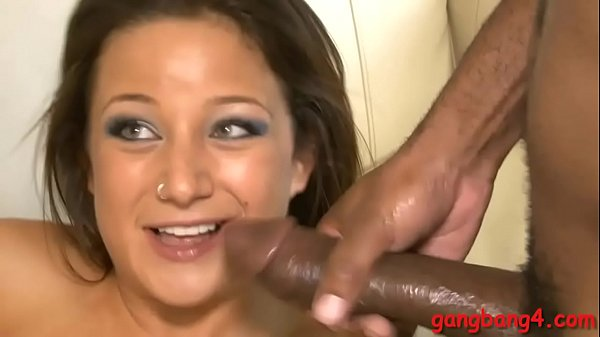 Cutie babe gets her anal and twat banged by black dudes