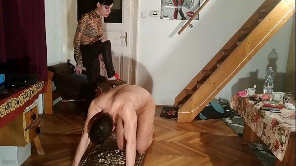 Sexy slim domina ass kicking humiliate slave in high heels pt1 HD