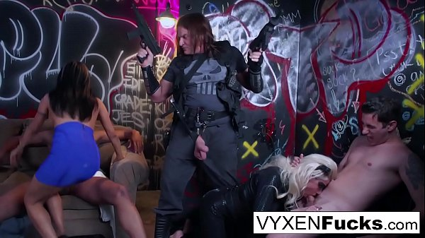 Sexy Vyxen & Gabby play dress-up in this hot orgy