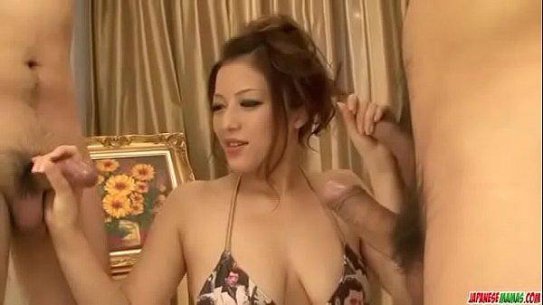 Meisa Hanai blows and strokes cock in crazy scenes